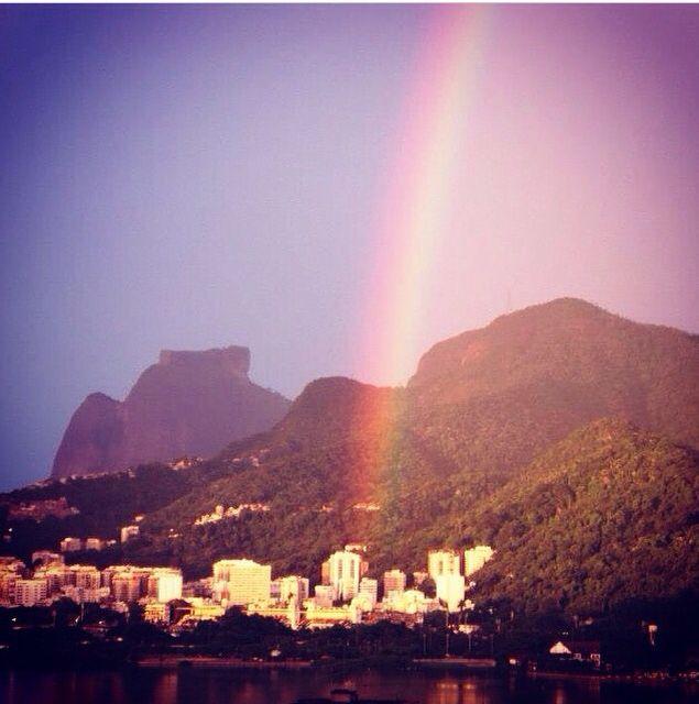 Rio de Janeiro , Brasil, lugar incrível de conhecer , arco-íris , lagoa Rodrigo de Freitas , cartão postal