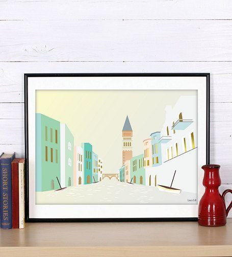 Venice, incluye 2 tamaños,Cityscape,art print,modernist print,italy,living room art,print illustration,wall art decor,Venice wall art,Italy