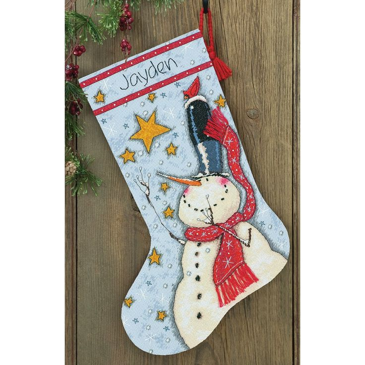 "Dimensions Tall Hat Snowman Stocking Counted Cross Stitch Kit-16"" Long - 16"" long 14 count"