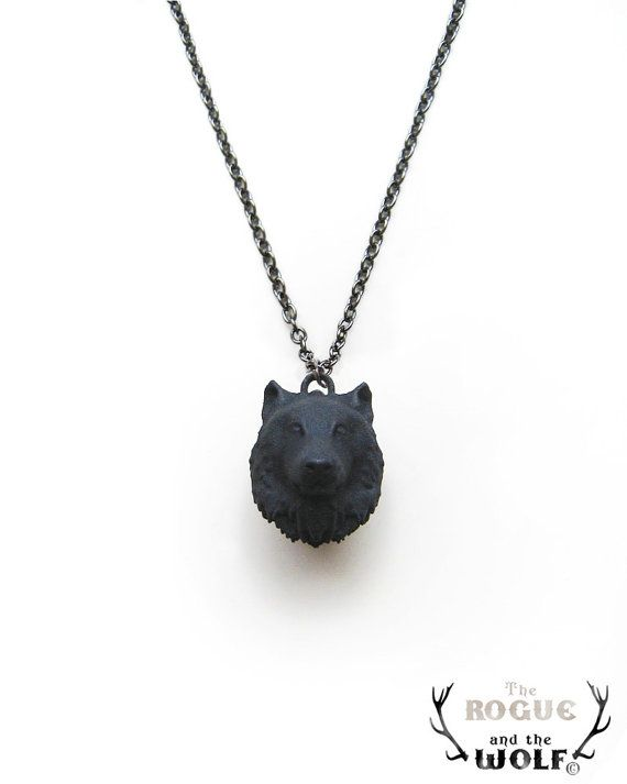 Black Wolf Necklace Pendant, animal jewelry, animal head pendant, wolf necklace, goth pendant, for the wild man, for the rock girlfrie
