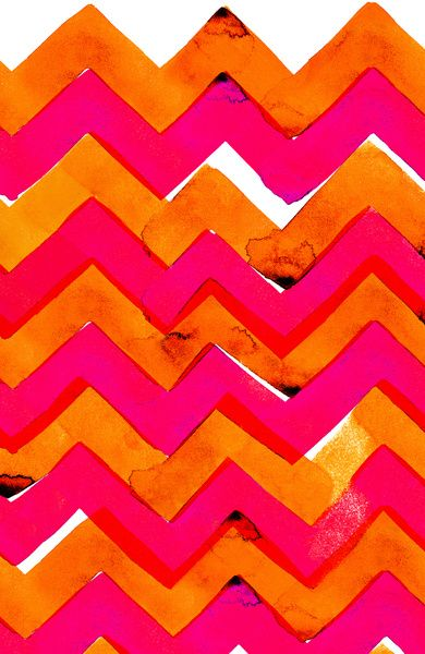 Pink an Orange Zig Zag pattern.  I love the imperfections in this design that give it character.
