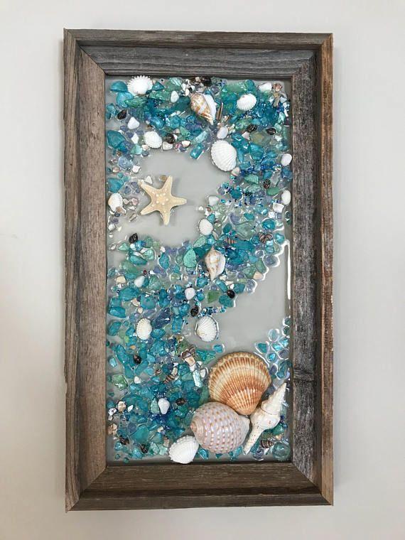 Beach Glass Mermaid And Starfish In Barnwood Frame Beach Sea Glass Crafts Seashell Crafts Glass Crafts