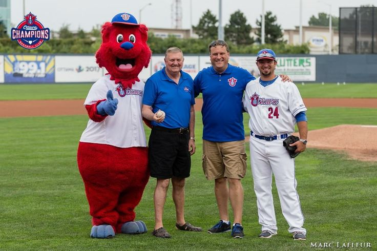 The final home season game during the Ottawa Champions inaugural season in 2015. Pictured here; Champ, Deputy Mayor Bob Monette, President David Gourlay and First Base Coach Jared Lemieux.