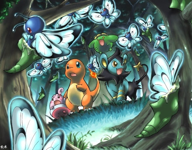 In this cute pokemon anime wallpaper, several pokemon are looking at the butterfrees evolving.