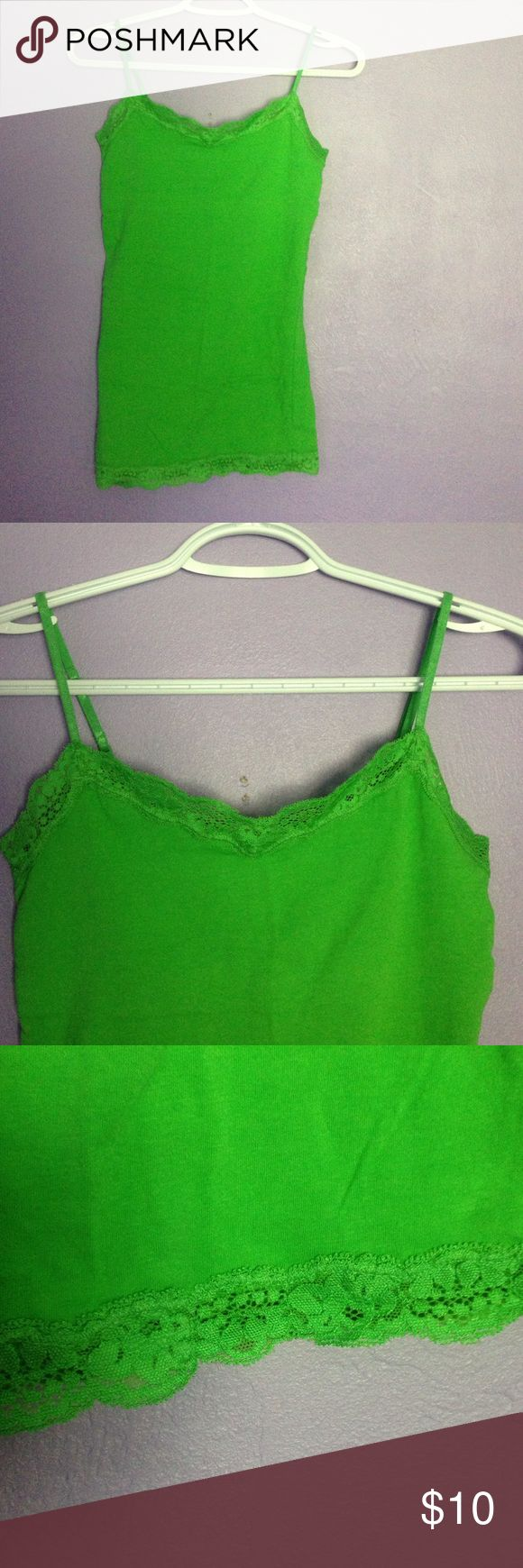 Lime Green Tank Top Lime Green Tank Top. Never worn, with lace trim on top and bottom. V-neck. aéropostale Tops Tank Tops