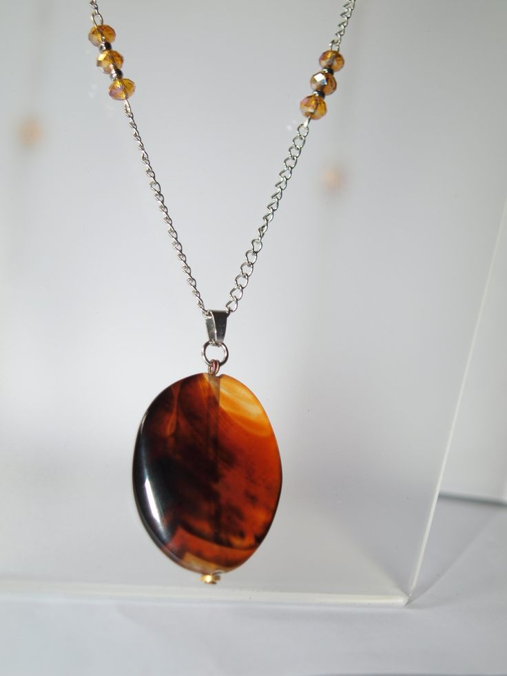 collier sautoir en acier inoxydable avec pendentif en pierre fine : Collier par creattitude-bijoux