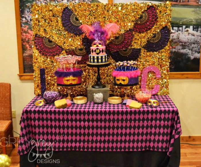 Masquerade 18th birthday party via kara 39 s party ideas for 18th birthday party decoration