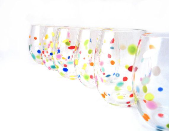 Blown Glass Tumbler Set  Retro Bright Polka Dot by AvolieGlass, $69.00: Po Dot Tumblers, Polka Dots, Dot Glasses, Wine Glass