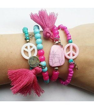 Ibiza Zomer Armbandjes - Beads & Basics - Summer bracelets Armcandy Pink Blue and Turquoise with tassels