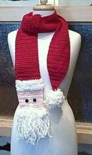 Crochet Santa Scarf by Christy Fisher: http://www.ravelry.com/patterns/library/crochet-santa-scarf -Pamela #crochet #fashion #crochetersanonymous.com