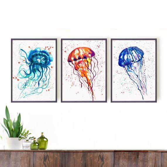 Watercolor art Orange Jellyfish print Sea art Nautical by colorZen