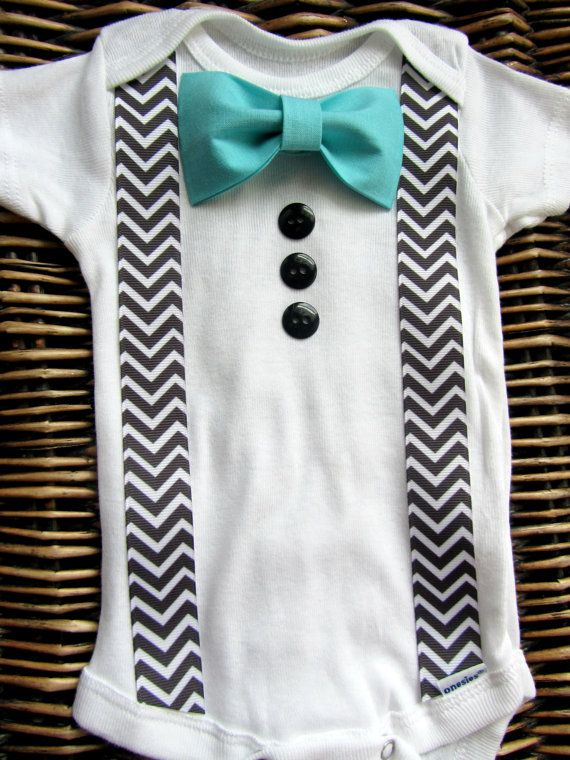 Baby Boy Clothes - Bow Tie Onesie - Infant Tuxedo - Coming Home Outfit - Chevron Suspenders With Blue Bow Tie - Boys First Birthday Outfit