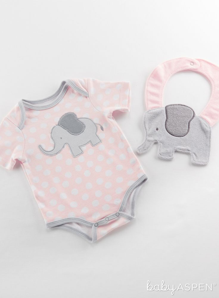 Messy babies can play like wild animals until mealtime is done thanks to this soft elephant bib and then they will sweetly settle into dreamland in the pink layette with white polka-dots. | Little Peanut Elephant Layette and Bib Gift Set (Pink) | Baby Aspen