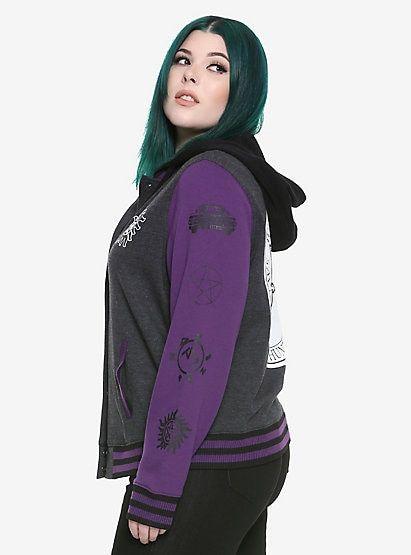 e35ba13ec3e Supernatural Winchester Bros. Purple Girls Varsity Jacket Plus  SizeSupernatural Winchester Bros. Purple Girls Varsity Jacket Plus Size
