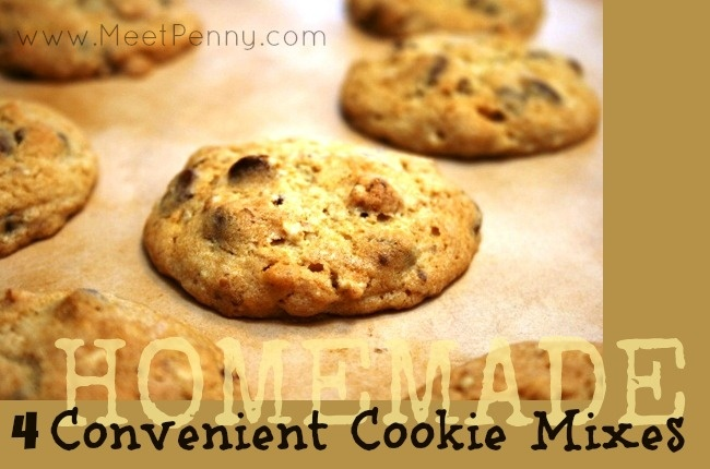 4 convenient cookie mixes to have available to make cookies from scratch in no time flat without buying those expensive mixes at the store.