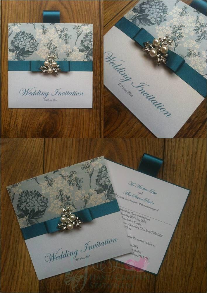 Teal Floral Wedding Wallet Invitation with leaf pearl embellishment  www.jenshandcraftedstationery.co.uk www.facebook.com/jenshandcraftedstationery
