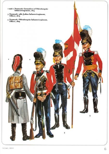 Denmark 1-2 Grenadiers of Oldemburgske Infanteriregiment 1813 3-Jydkse Infanteriregiment Officer 1813 4-Oldemburgske Infanteriregiment Officer 1809