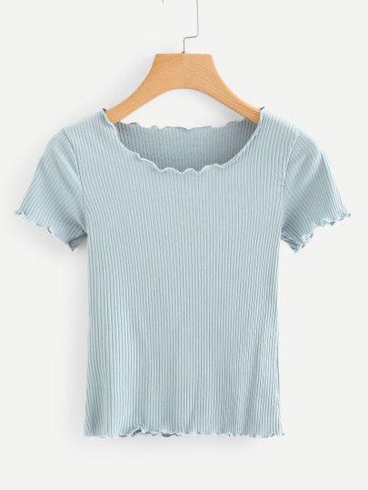 45ec6703323 Ribbed Lettuce Trim Crop Tee in 2019 | fashion inspo | Shirt print ...