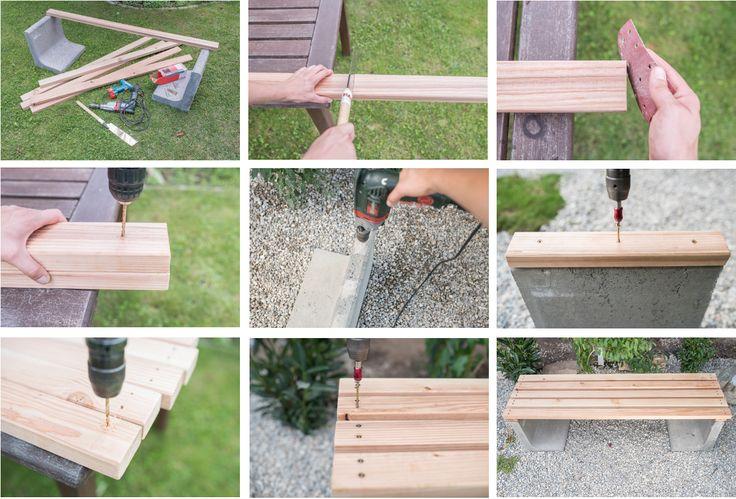 Schritt-für-Schritt Anleitung für eine DIY Gartenbank aus Beton und Holz als Low budget Deko für den Garten