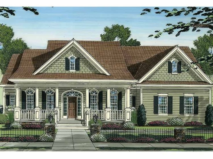 Eplans country house plan covered porches offer for One story country house plans with porches