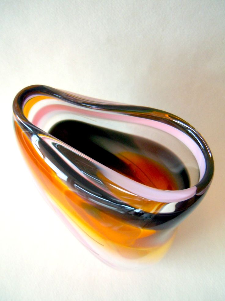 Hokkaido - a large glass free form vessel. Mouth blown and manipulated ...
