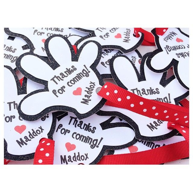 """""""A couple Mickey Mouse inspired items coming your way tonight! Starting out with these customized favor tags."""" Perfect for a Mickey Mouse Clubhouse first birthday party, party favor tags. Disney themed birthday"""