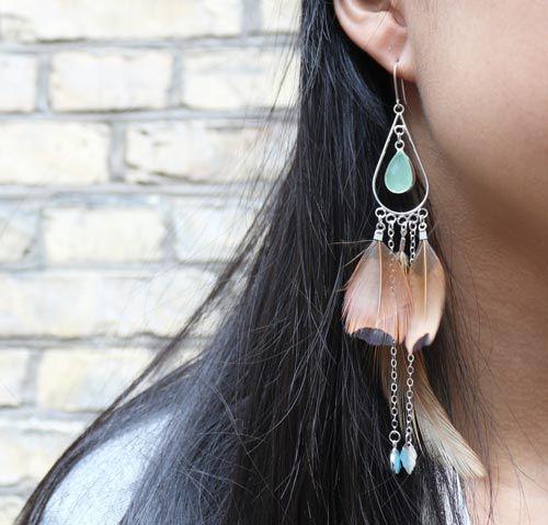 øreringe med fasanfjer