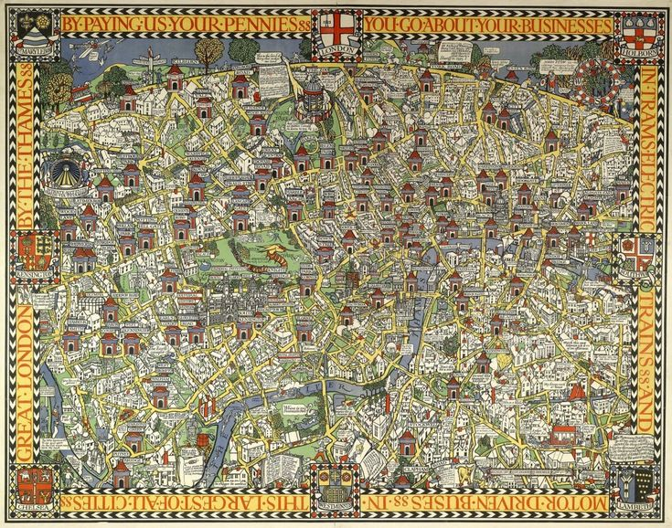 Mapcarte Wonderground Map Of London Town By Macdonald Gill 1914