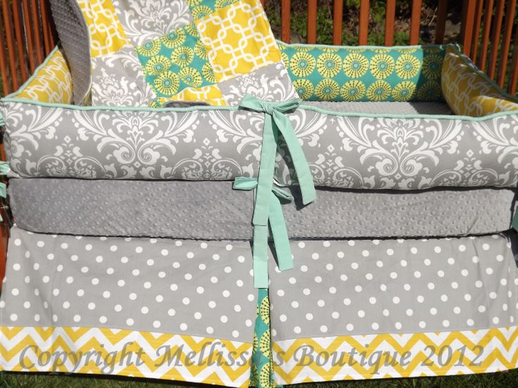 custom grey with teal and yellow accent 4 piece complete boutique crib nursery bedding set. Black Bedroom Furniture Sets. Home Design Ideas