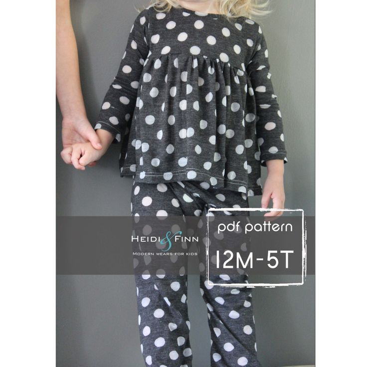 All you Need Jammies pajamas pattern and tutorial 12M-5T leggings tee shirt nightgown  PDF by heidiandfinn on Etsy https://www.etsy.com/listing/203000972/all-you-need-jammies-pajamas-pattern-and