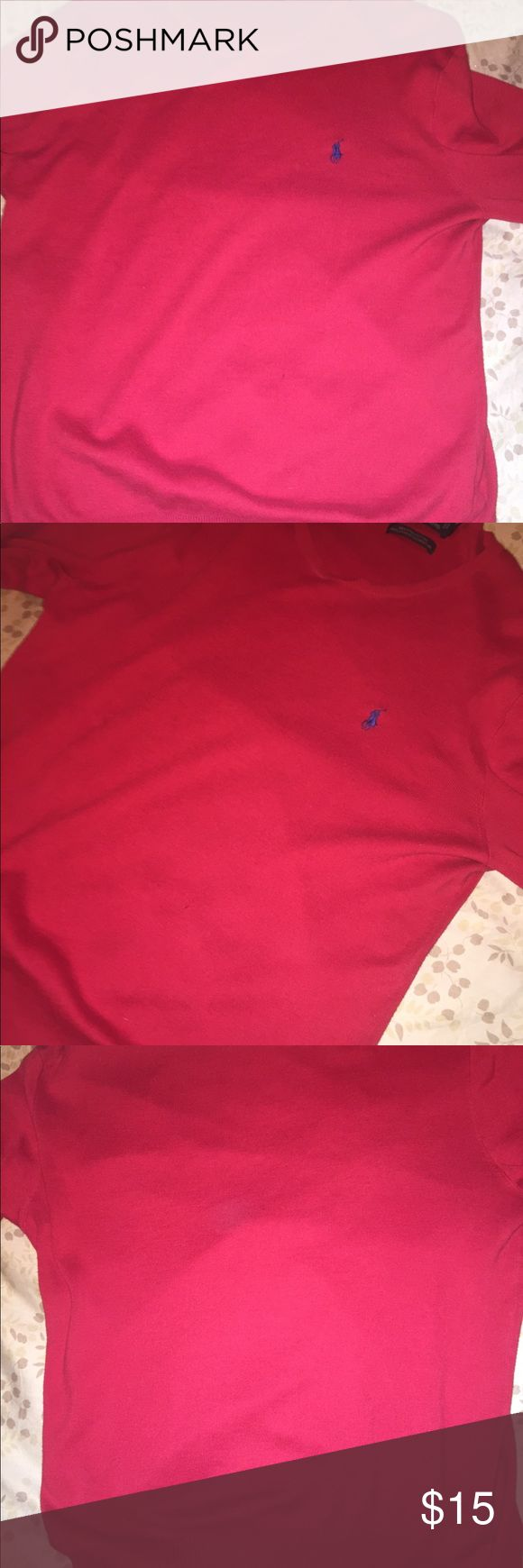 Polo Ralph Lauren texture sweatshirt Polo Ralph Lauren sweatshirt comes in red and is great for dressing up or going out for a casual hangout. This is in good condition and has been worn a few times but not too much. FYI The sweatshirt has a tiny hole down the middle of it but isn't that noticeable. Polo by Ralph Lauren Sweaters