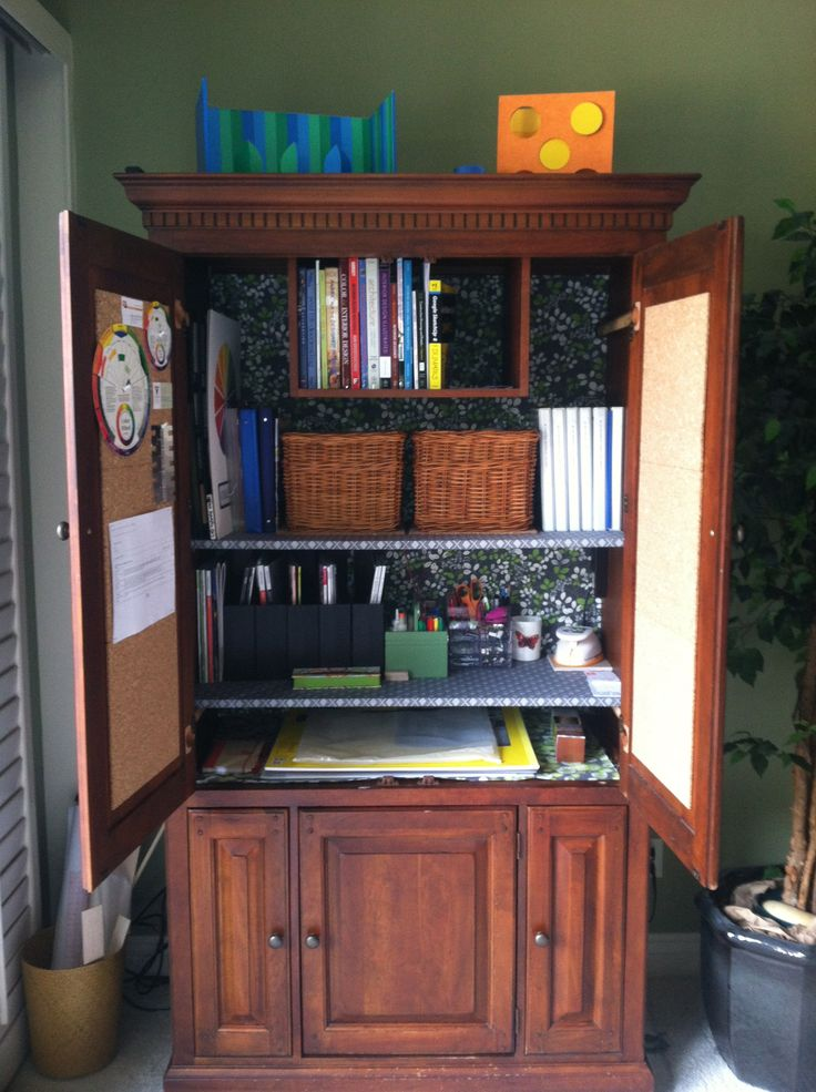 An unused TV Armoire was repurposed into my Design Library ...