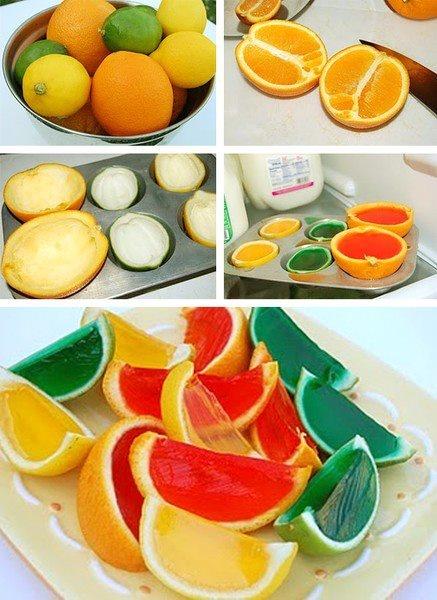 Gelatina Jell-o in coppe di frutta, tono su tono