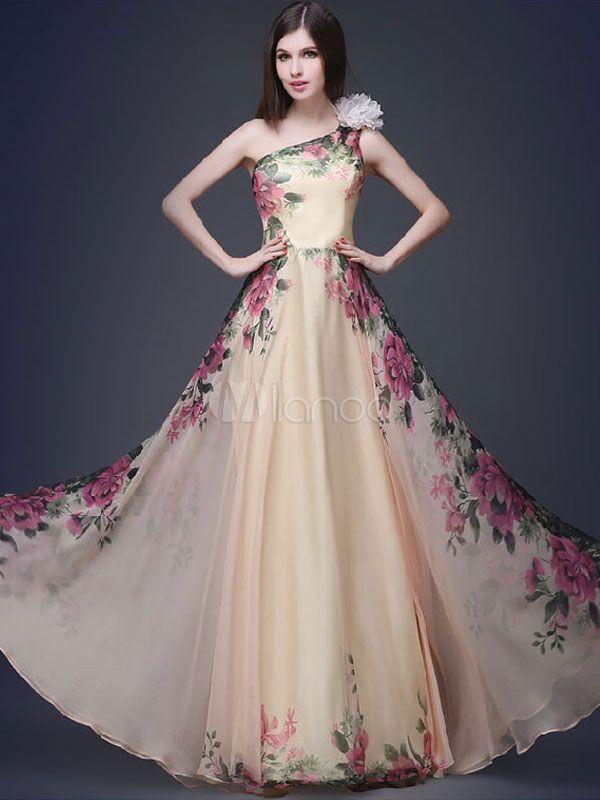 Robe Maxi imprimé floral multicolore une épaule robe en mousseline de soie - Milanoo.com