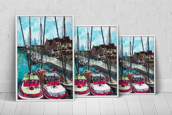 The Marina - Boats Art Print Poster on Etsy, $27.35 AUD