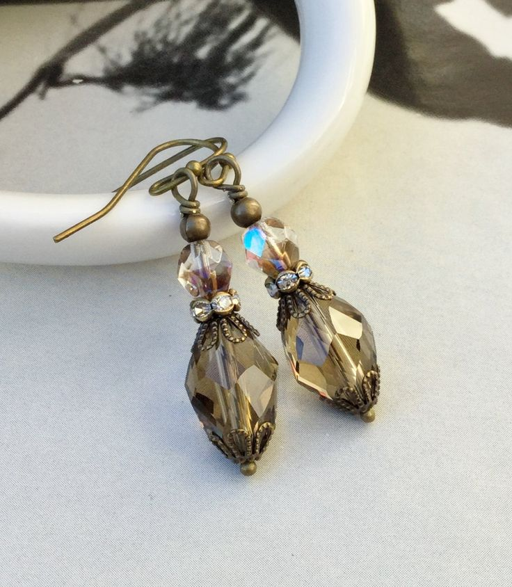 Grey Earrings, Brown Earrings, Crystal Earrings, Czech Glass Beads, Formal Earrings, Bridal Jewelry, Womens Earrings, Gifts for Women by SmockandStone on Etsy