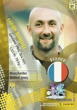 2002 Panini World Cup #57 Fabien Barthez Back