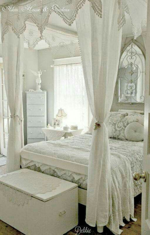 Not my style but in the right house it's a beautiful white bedroom.