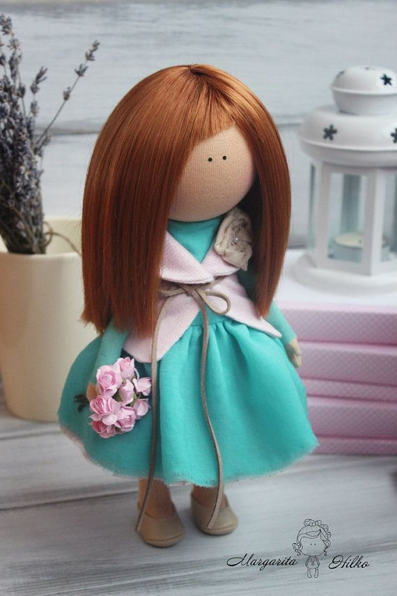 Hand made Soft doll green turquoise colors by AnnKirillartPlace