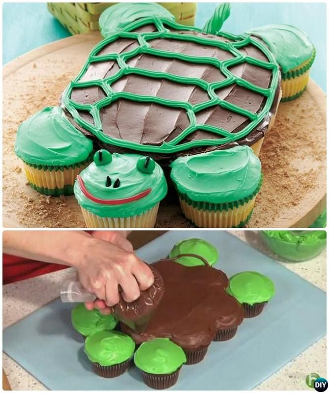 DIY Turtle Pull Apart Cupcake Cake Decorating #Cupcake, #Bakery