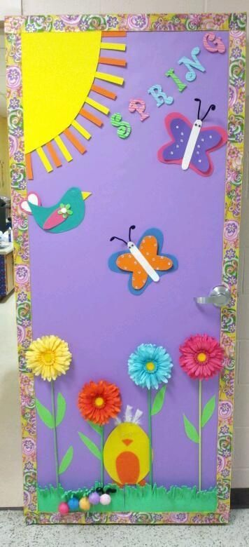 "Spring #classroom #door -- make it say ""spring has sprung"" and have each student make a flower with coffee filters and water colors (but I love this color scheme)"