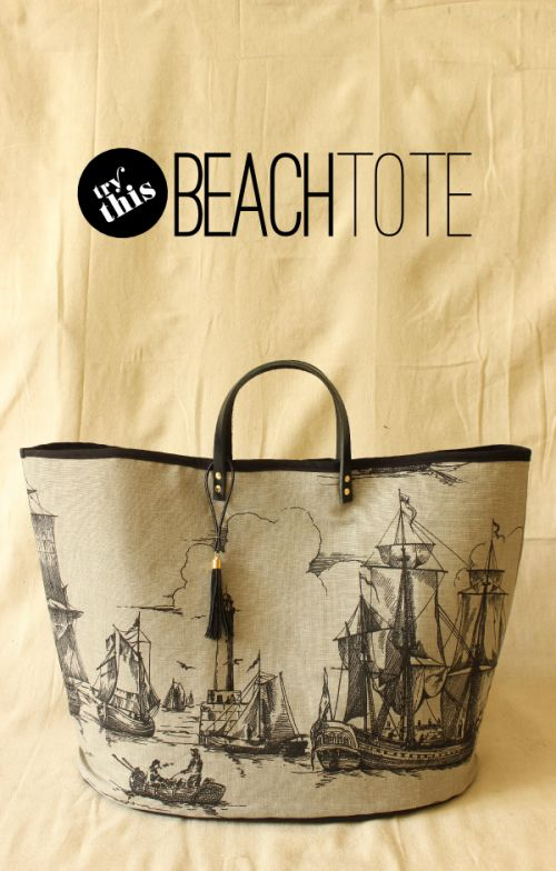 vintage-styled beach tote | Shelterness