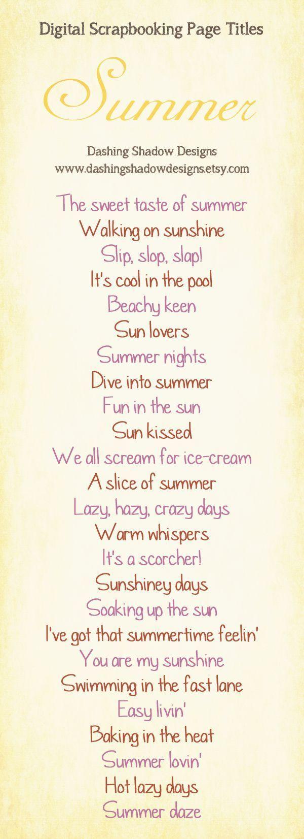 Summer scrapbook layout titles. #CreativeMemories