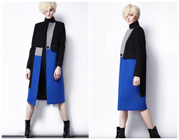 Long wool coat for women in blue and black from BWG studios.