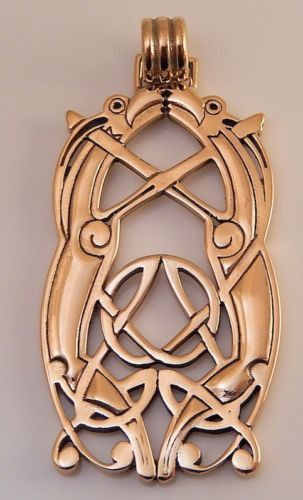 Viking Animal Art Pendant cast in Bronze - this is 10th Century JELLINGE Style Norse Viking Knotwork for $44.99 with free shipping.    I loved the sterling silver version of this pendant so much I had the artists create these beautiful pendants in bronze. When I received the first order of this pendant I was amazed with the quality and beautiful shine. I now prefer this lovely animal art pendant in bronze (but the silver is still lovely as well!)
