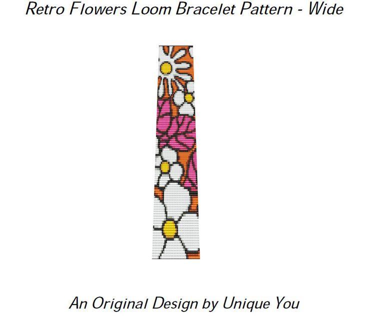 Small+Bead+Loom+Bracelet+Pattern | Loom Beading Pattern Bracelet Pattern - Seed Bead Cuff - Retro Flowers ...