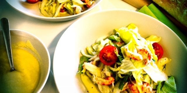 Summer crayfish salad with fresh choucroutte of fennel and creamy apple vinaigrette
