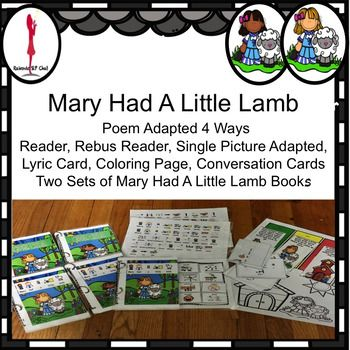 #NovSLPMustHaveMary Had A Little Lamb, a traditional nursery rhyme done several ways as a reader, rebus reader, interactive book, lyric card, a sequencing activity, coloring page and conversation cards about pets! The first part is appropriate for those children that are readers or it can be read to the child.