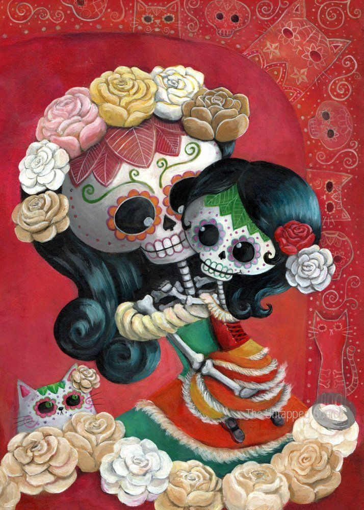 mexican skeleton mother and daughter, by monika suska