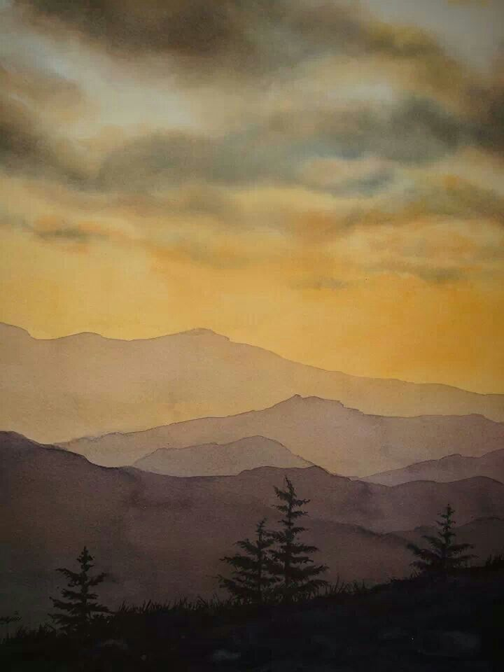 Watercolor landscape mountains evening Beautiful. Only I shall paint Taipei!